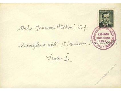 1948, dopis s razítkem Knihovny sovět. literatury