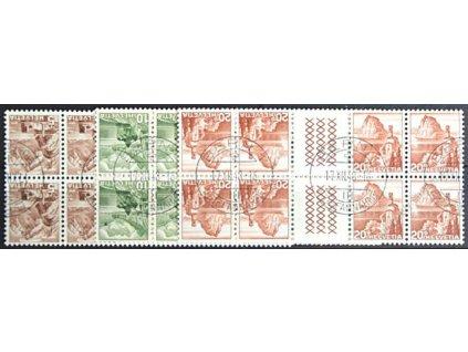 1948, 5, 10 a 20C Krajinky, protichůdné dvojice, razítkované