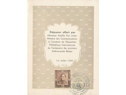 1949, pamětní list - Menu se zn. MiNr.842, FDC