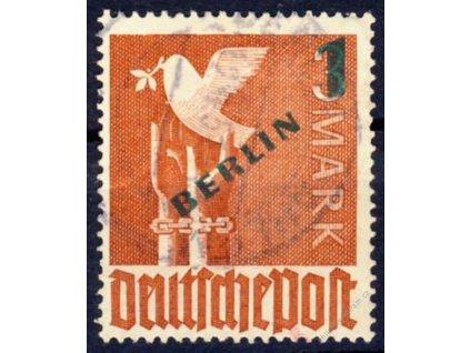 1949, 1(DM)/3M karmínová, MiNr.67, razítkované