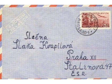 1949, DR Beograd, aerogram zasl. do Prahy