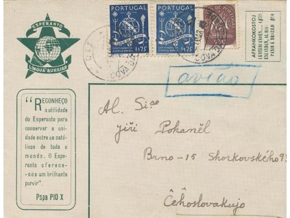 1949, Cova da Piedade, letecký dopis zaslaný do Brna