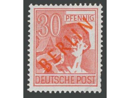 1949, 30Pf růžová, MiNr.28, * po nálepce, krátké zoubky