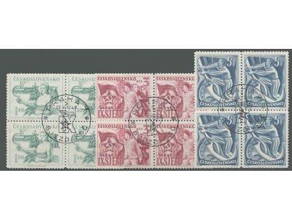 1949, FDC 511-513 sjezd KSČ, 4bloky, razítko FDC, **