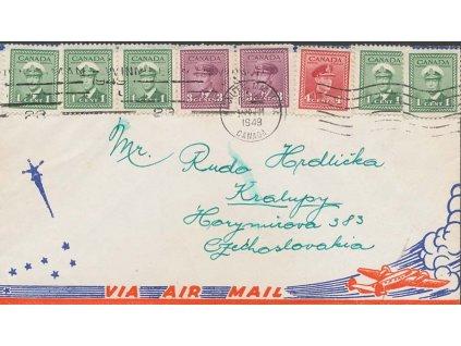 Kanada, 1949, DR Winnipeg, pestrá frankatura známek