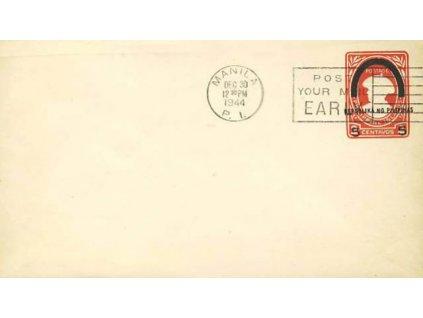 Filipíny, 1944, celinová obálka 5/2C, neprošlé