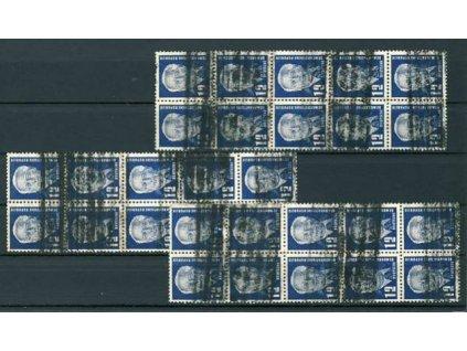 1950, 12Pf Pieck, MiNr.251, 3 ks 10bloků sundaných z těžších zásilek, různá jakost