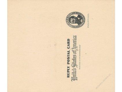 Filipíny, 1900, dvojitá dopisnice s přetiskem, neprošlé