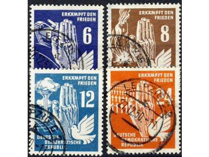1950, 6-24Pf série Mír, MiNr.276-79, razítkované