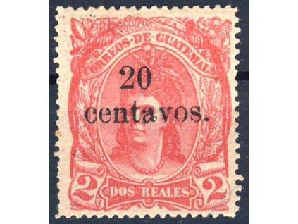 Guatemala, 1881, 20C/2R růžová, MiNr.20, těžší *