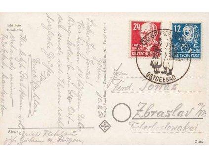 1950, Göhren Ostseebad, pohlednice zaslaná do ČSR