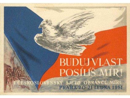 1951, Praha, Sjezd obránců míru, propagační pohled