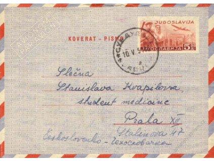 1951, DR Beograd, aerogram zasl. do Prahy