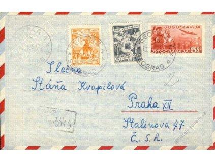 1951, DR Beograd, R-aerogram zasl. do Prahy