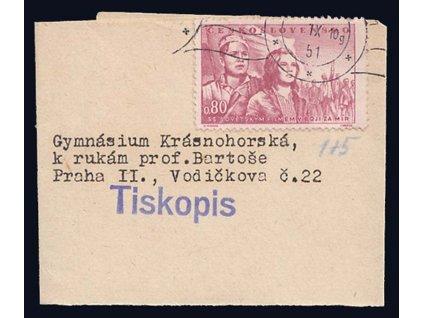 1951, Tiskopis, novinová páska vyfr. zn. 80h, zasl. do Prahy