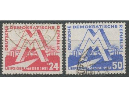 1951, 24-50Pf série Veletrh, MiNr.282-83, razítkované