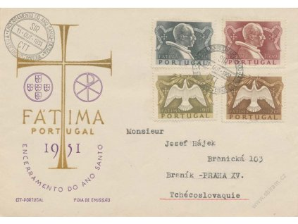 1951, FDC 762-65 Fatima, zasl. do Prahy, stopy provozu
