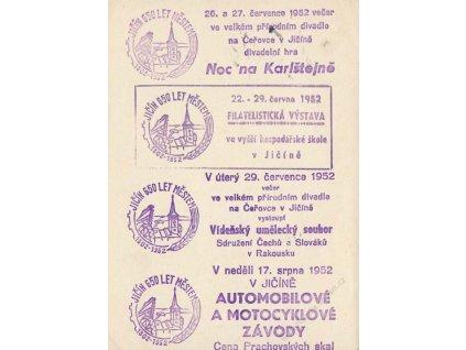1952, Jičín, 650 let městem, putovní pamětní karta
