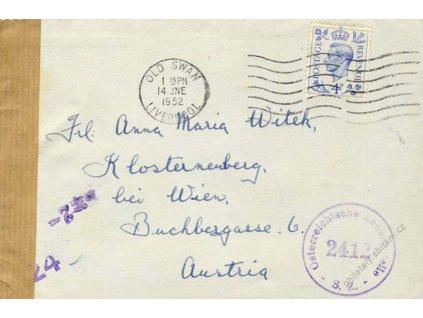 1952, DR Liverpool, dopis zasl. do Rakouska