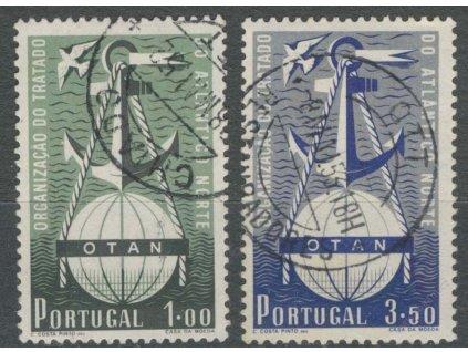 1952, 1-3.50E série OTAN, MiNr.778-79, razítkované