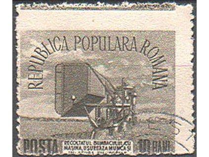 1953, 10B Zemědělství, posun obrazu známky, razítkovaná
