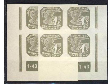 1943, 1K šedá, roh.4blok s DČ1-43, L+P, přerušený rám. **