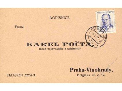 1955, DR Praha 5.5.55-5, firemní lístek, hledané