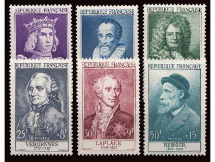 1955, 12-50Fr série Osobnosti, MiNr.1053-58, **