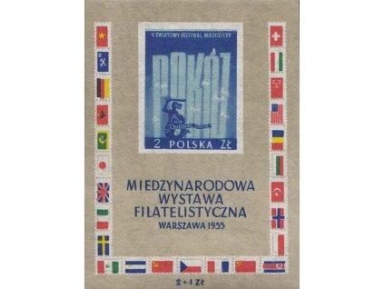 1955, aršík, MiNr.Bl.18, ** , drobné vlomy