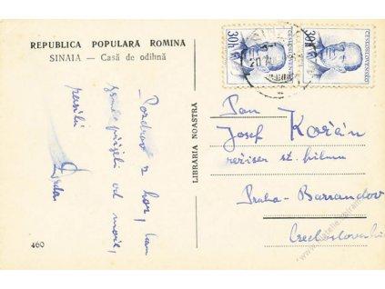 1956, DR Sinaia, pohlednice vyfr. zn. 2krát 30h Zápotocký