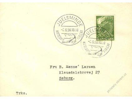 1956, DR Juelsminde, dopis, pamětní razítko