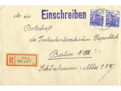 1956, Čs. konzulát v Berlíně, R-dopis, DR Zeitz