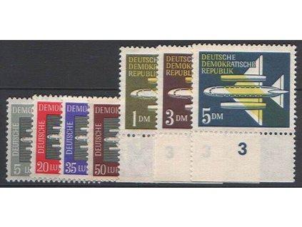 1957, 5Pf-5DM letecká série, MiNr.609-15, **