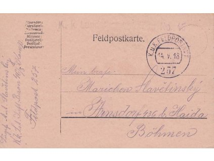 No.257, lístek PP zasl. v roce 1918 do Čech