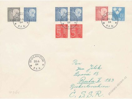 1964, DR Stockholm, dopis se soutisky, razítko FDC