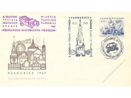 1967, Pardubice, Výstava známek, Přepraveno autem