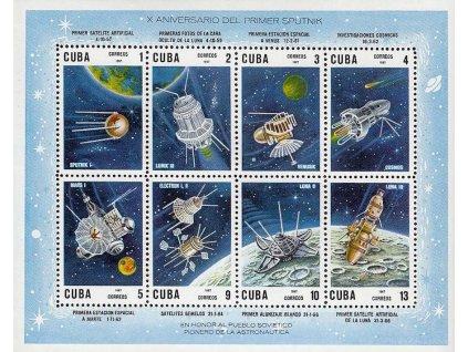Kuba, 1967, aršík Kosmos, MiNr.Bl.30, **