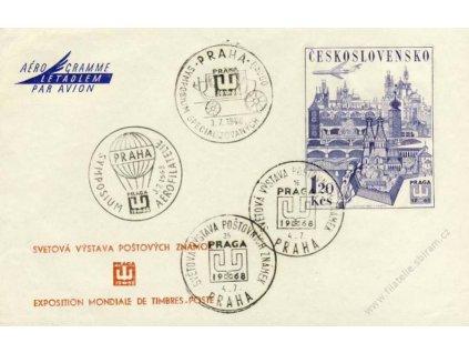 1968, Praha, Výstava PRAGA, aerogram se 4 razítky