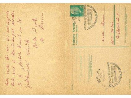 1968, DR Berlin, oboustranně prošlá dopisnice, drobný vlom, stopy pošt. provozu