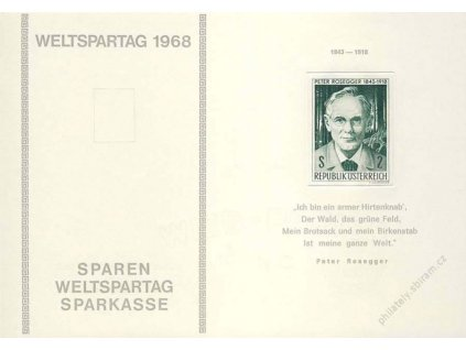 1968, MiNr.1267 Rosegger, pamětní otisk, 2list, bílý papír