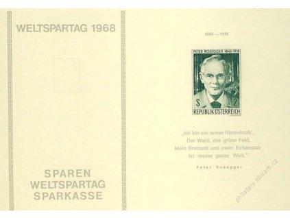 1968, MiNr.1267 Rosegger, pamětní otisk, 2list, žlutý papír