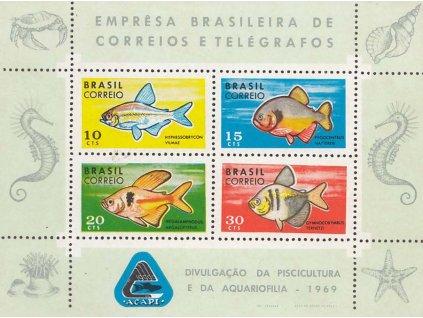 Brasílie, 1969, aršík Ryby, MiNr.Bl.24, (*)