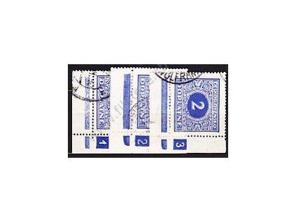 2Kč modrá, 3 roh. ks. s DČ 1,2,3, Nr.DL63, razítk.