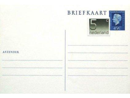 Dopisnice 45C BRIEFKAART + 5C dolepená známka, neprošlá