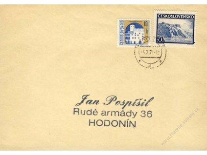 1971, DR Hodonín, dopis vyfr. neplatnou známkou