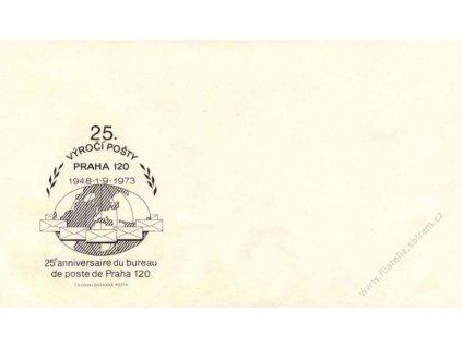 1973, 25. výročí pošty Praha 120 propagační obálka