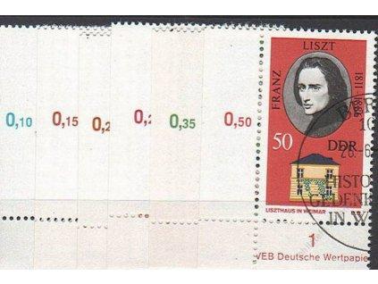1973, 10-50Pf série Osobnosti, roh. kusy s DZ, pamětní razítka