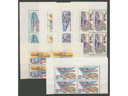 1973, 30h-3.60Kčs letecké, 4bloky, Nr.L74-79, **