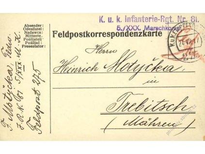 No.275, lístek PP, zasláno v roce 1917 na Moravu
