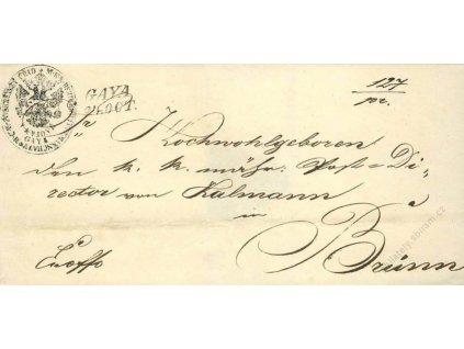 Gaya, skládaný dopis z roku 1851, chybějící pečeť